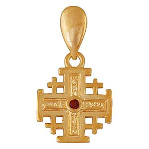 Gold-filled Jerusalem Cross Pendant with Red Garnet