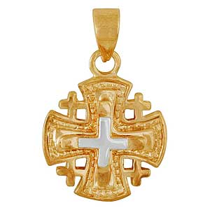 Tri-colored Gold-filled Jerusalem Cross Pendant