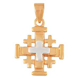 Gold-filled Tri-colored Jerusalem Cross Pendant