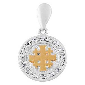 Gold-filled Medallion Jerusalem Cross Pendant with Zircons