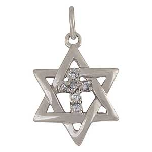 White gold-filled Messianic Star Pendant with Zircons