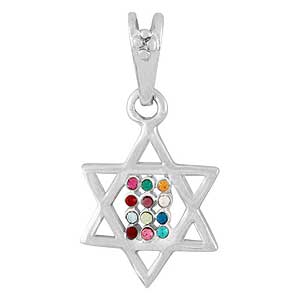 White Gold-filled Star of David and Hoshen Pendant