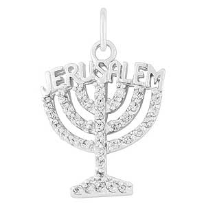 Gold-filled Jerusalem Menorah Pendant with Zircons