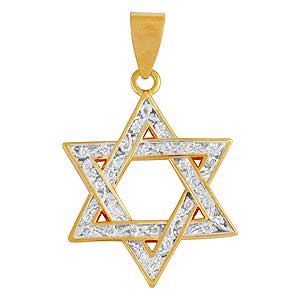 Yellow Gold-filled Star of David Pendant with Zircons