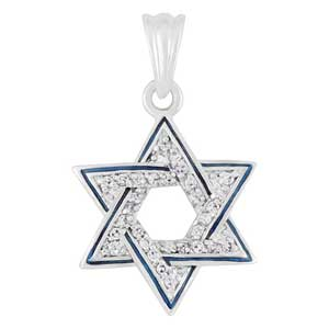 Gold-filled Star of David Pendant with Blue Enamel and Zircons