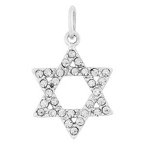 White gold-filled Star of David Pendant with Zircons