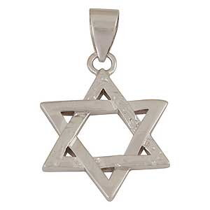 White Gold-filled Rough Star of David Pendant