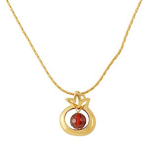 Gold-filled Pomegrante Necklace with Red Garnet