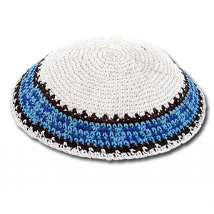 Knit White Kippah with Blue Decoration