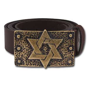"100% Genuine Leather Hand Made Belt ""Star of David"""