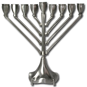 Hanukkah Menorah, Pewter Plated
