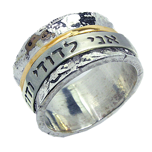 Hammered Silver and Gold Scripture Ring