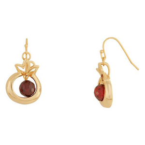 Pomegranate Earrings with garnets, Gold filled.