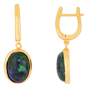 Gold Filled Oval Earrings with Eilat stone