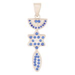 Grafted In pendant, gold filled with Sapphire and Zircon