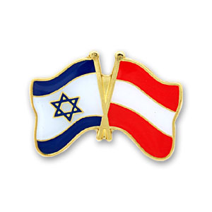 Austria-Israel Flags Lapel Pin.