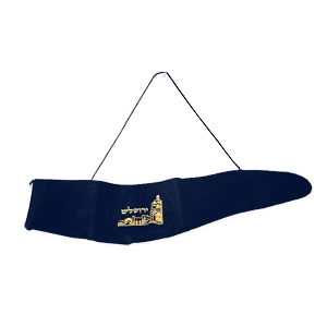 Shofar Bag. Navy Blue Velvet with Jerusalem of Gold