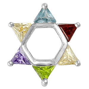 Colored Stones Star of David Bead Bracelet Charm. 25% OFF*