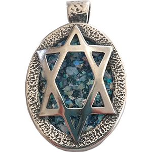 Oval Sterling Silver Star of David and Roman Glass Pendant
