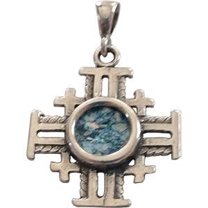 Roman Glass Pendant. Jerusalem Cross.