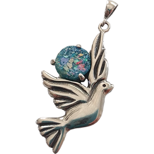 Grafted In Roman Glass Pendant. Dove of Peace