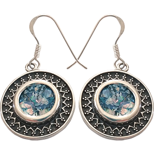 Sterling Silver Earrings Set with Roman Glass