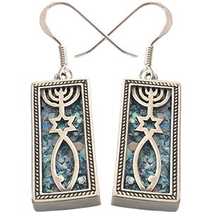 Messianic Roman Glass and Sterling Silver Earrings. Grafted In.