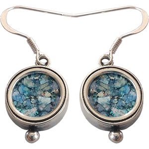 Round Sterling Silver and Roman Glass Earrings