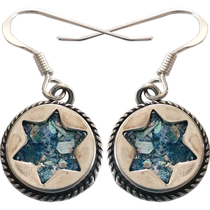 Sterling Silver Star of David Earrings with Roman Glass