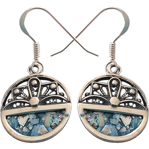 "Sterling Silver Earrings Set with Roman Glass ""Sunrise"""