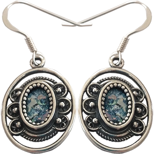 Sterling Silver Oval Earrings Set with Roman Glass