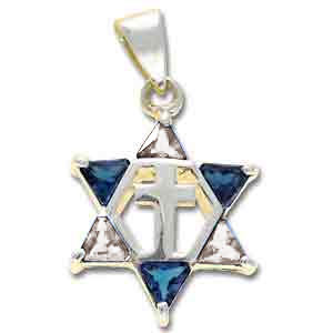 Sterling Silver Messianic Star Pendant with Dark & Clear Crystals