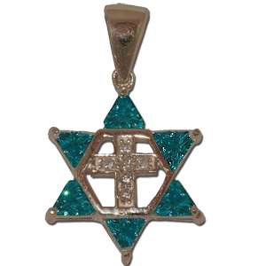 Star of David and Cross. Blue Stones.