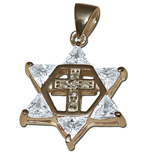 Star of David with Cross. Clear Crystals.