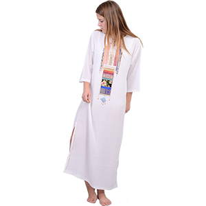 White Hand-made Crepe Jalabiya Dress