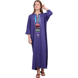 Periwinkle Hand-made Rayon Crepe Jalabiya Dress
