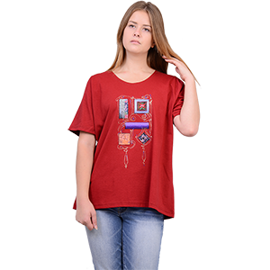 Red Hand-made 100% Cotton Jersey Shirt