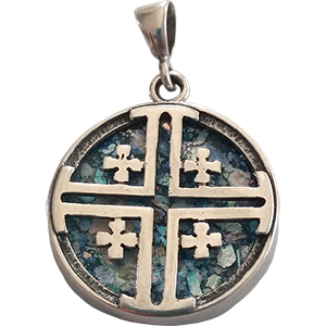 Sterling Silver Roman Glass Round Jerusalem Cross