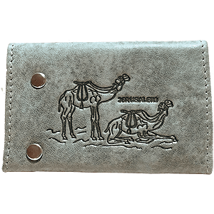 Grey Leather Key and Card Holder with Camels