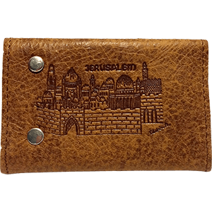 Brown Leather Key and Card Holder with Jerusalem