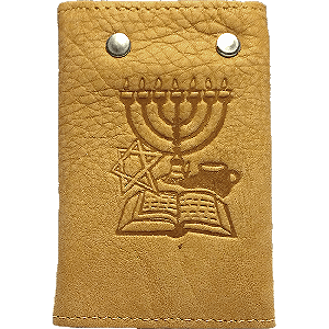 Tan Leather Key and Card Holder with JesusBoat Logo