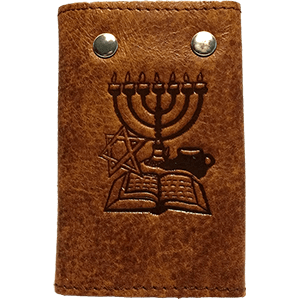 Brown Leather Key and Card Holder with JesusBoat Logo