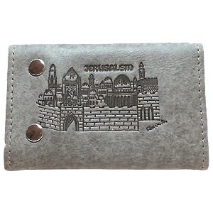 Grey Leather Key and Card Holder with Jerusalem