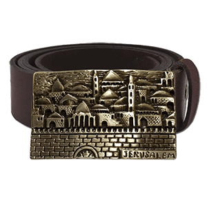 Genuine Leather Belt with Jerusalem Belt Buckle