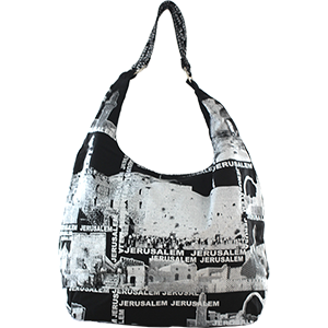 Black and White Jerusalem Collage Hobo Bag