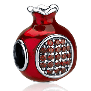 Garnet Encrusted Pomegranate Bead Bracelet Charm. 35% OFF*