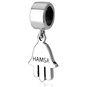 The Hand of Miriam Hamsa Hanging Bracelet Charm, Sterling Silver. 25% OFF*