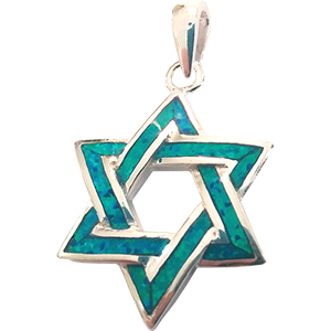 Sterling Silver Synthetic Opal Star of David Pendant