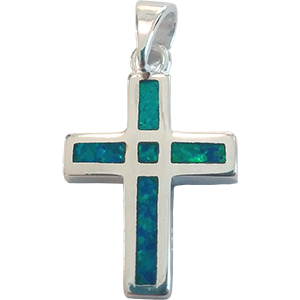Sterling Silver Reversible Opal Cross Pendant
