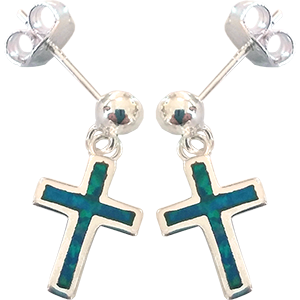Cross Sterling Silver with Synthetic Opal Dangling Post Earrings